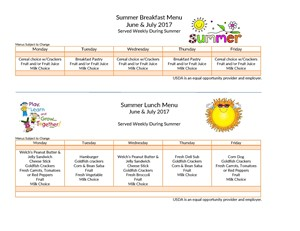 Summer Meals Program Menu