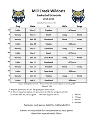 Basketball Schedule 18-19