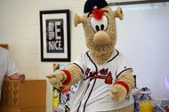 Braves mascot, Blooper, entertained students at the completion of their STEM unit on the science of baseball.