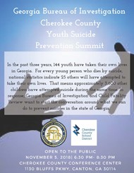 Cherokee County Youth Suicide Prevention Summit flier
