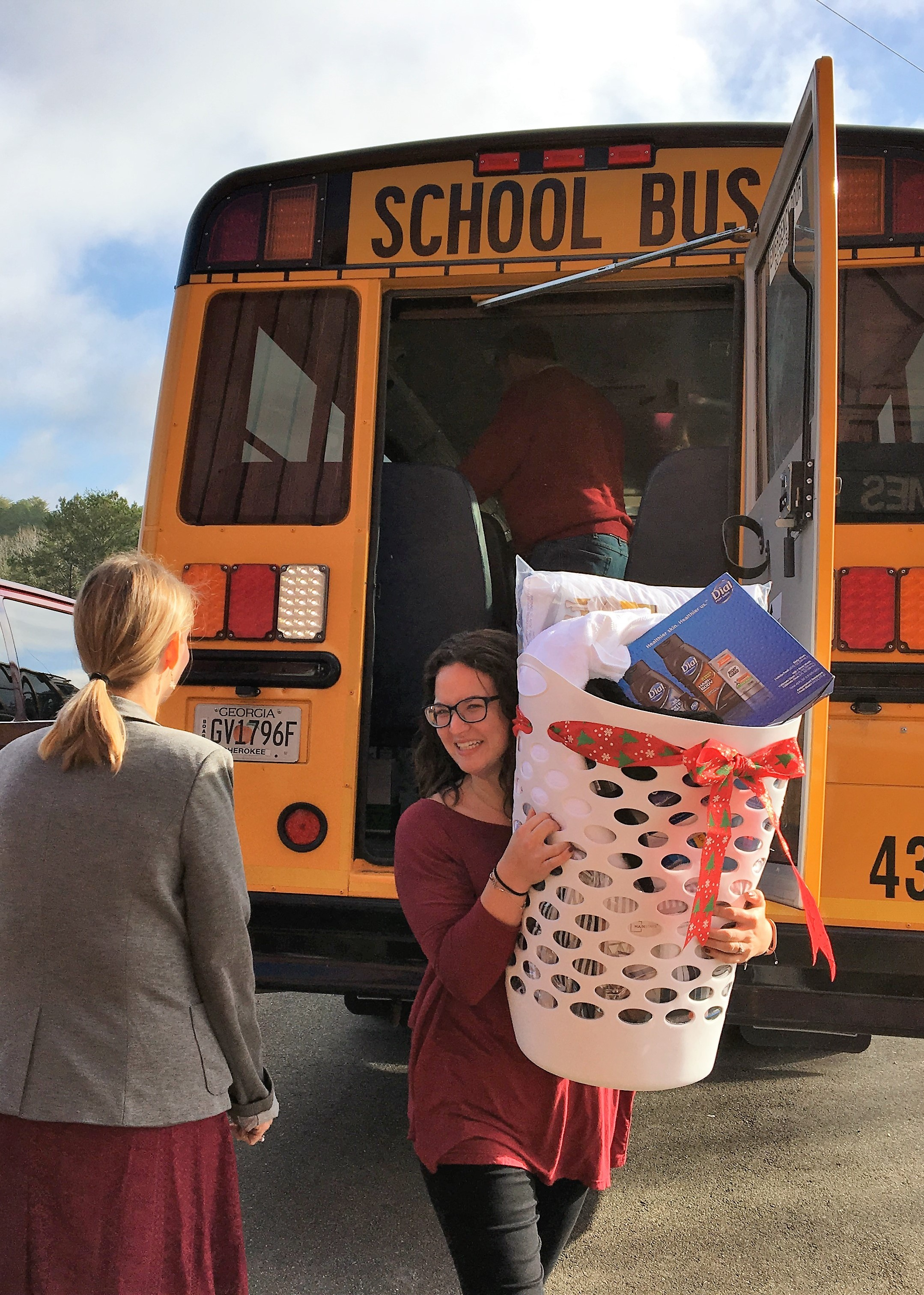 bus drivers deliver donations to goshen valley