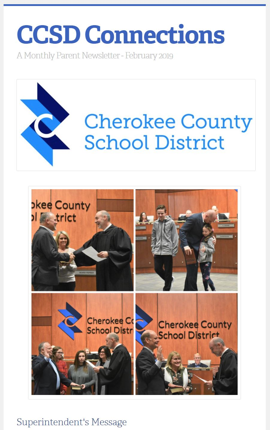 CCSD Connections parent newsletter February 2019 image