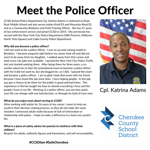 MEET OFFICER Katrina Adams - Dean Rusk MS 10 22 19