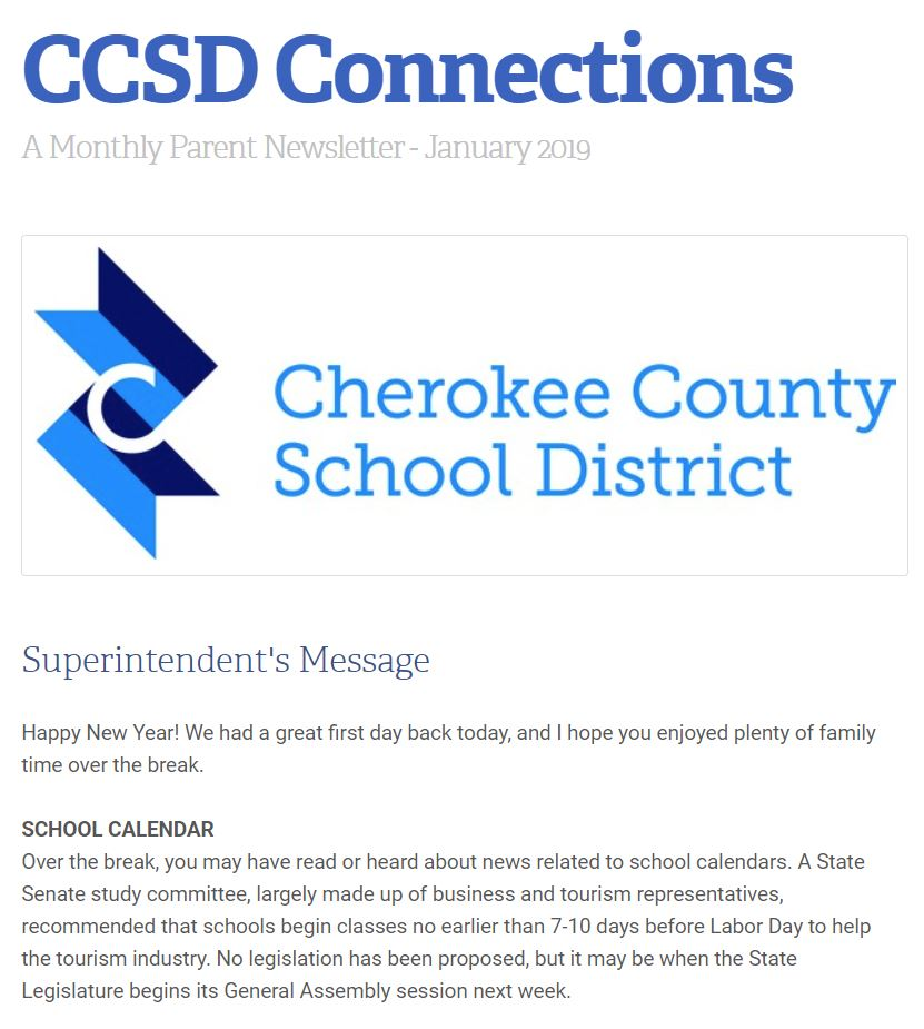 CCSD Connections Jan 19 newsletter image