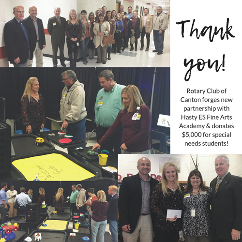 rotary club partnership with hasty es fine arts academy 11 28 18