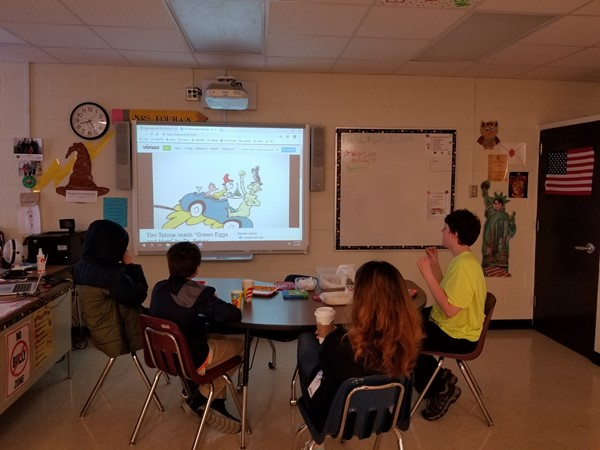 students watching Green Eggs and Ham