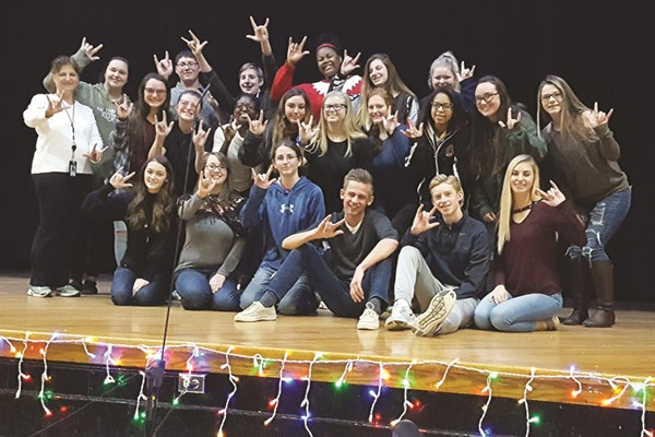 "The Cherokee High School Friends Club presented its annual holiday show, which this year was ""Grandma Got Run Over By A Reindeer,"" and received special help from American Sign Language students.  The students in teacher Denise Manning's ASL 3 class interpreted the production for audience members who are deaf or hard of hearing."