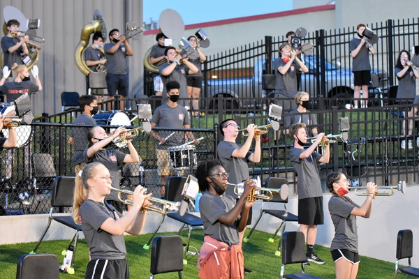 band plays at football game