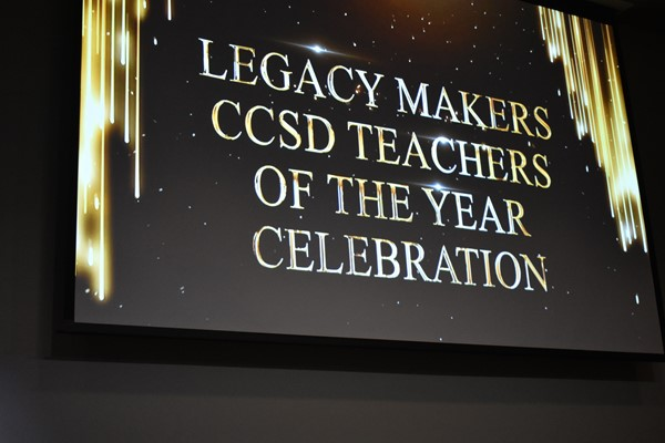 "image of screen that shows ""Legacy Makers CCSD Teachers of the Year Celebration"""