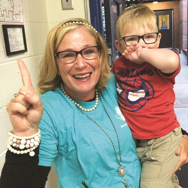 CCSD Preschool Centers Assistant Principal Angela Moody and Johnston ES preschooler Miles Estill.