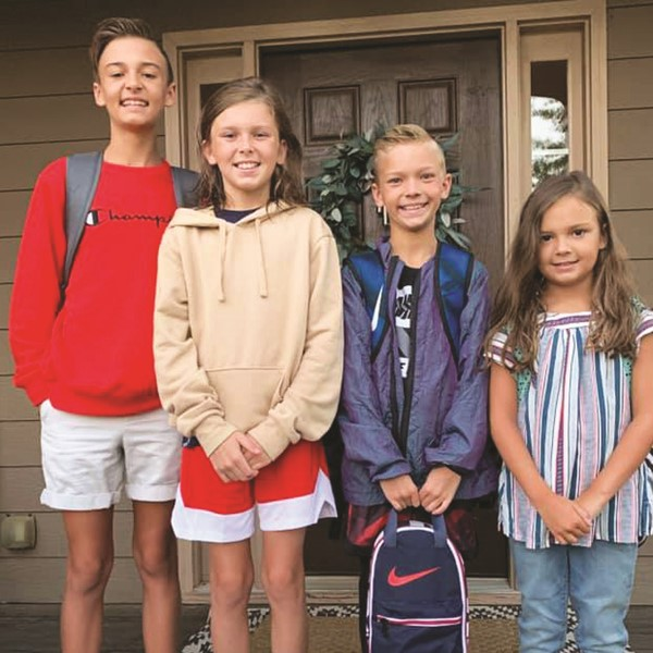 The Isaacs siblings are ready for the first day: Cherokee HS freshman Cooper, Freedom MS seventh-grader Branson, and Liberty ES fifth-grader Tucker and third-grader Kinley.