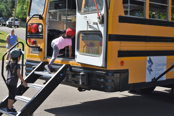 child climbing stairs to bus