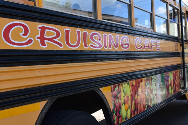 school bus with painted lettering