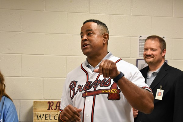 former pro baseball player and now Braves announcer Brian Jordan visits Teasley MS classrooms to observe Science of Baseball curriculum in action