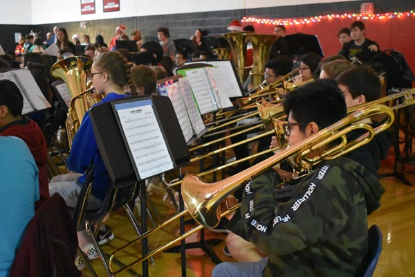 students play trumpets