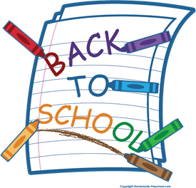 "Image of paper and crayons with words ""back to school"""