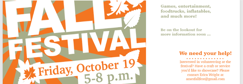 Fall festival, Friday October 19, 5-8 PM.