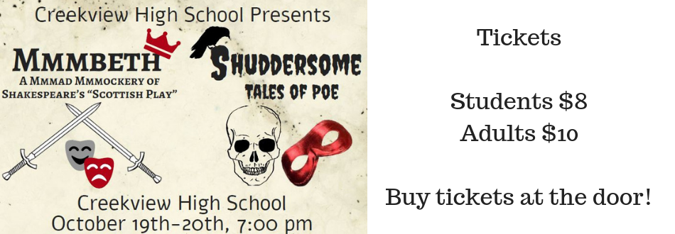 One-Act plays October 19 and 20