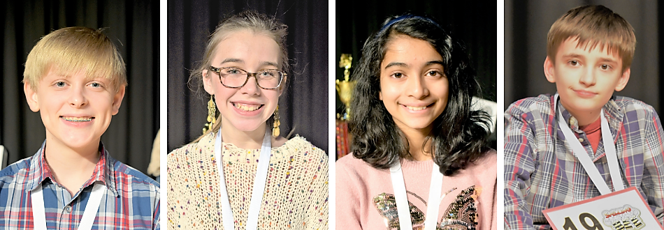 four individual photos of spelling bee winners