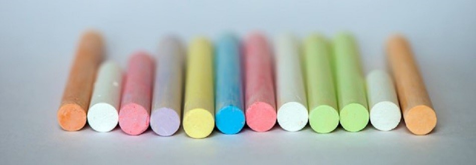 colored chalk pieces in a row