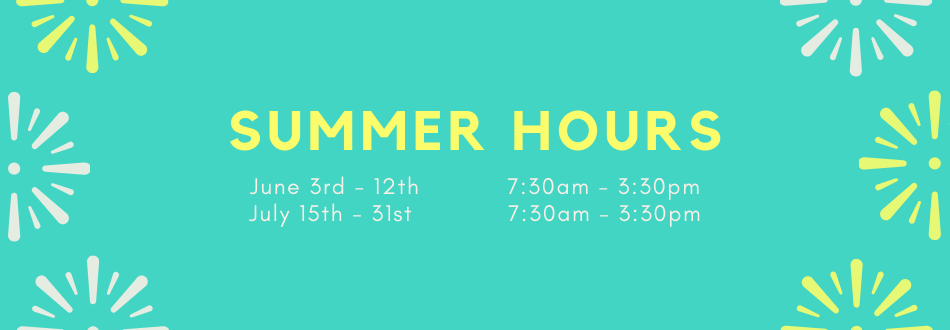 Summer hours for Mountain Road Elementary School