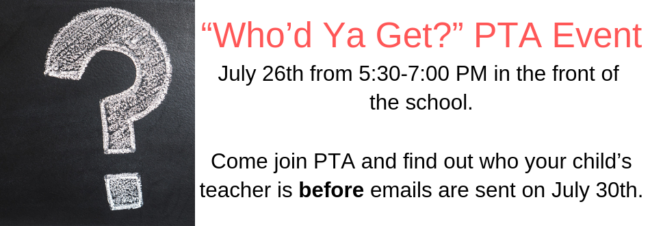 Date for the Who'd Ya' Get PTA event.