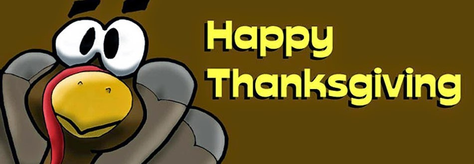 cartoon turkey with text that says Happy Thanksgiving