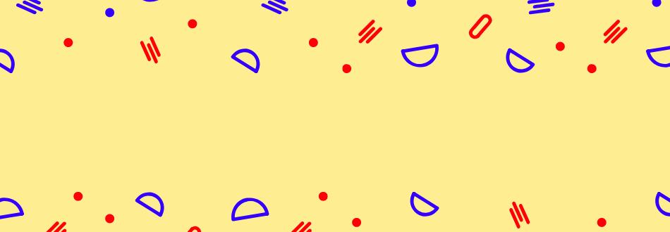 yellow background with red and purple shapes