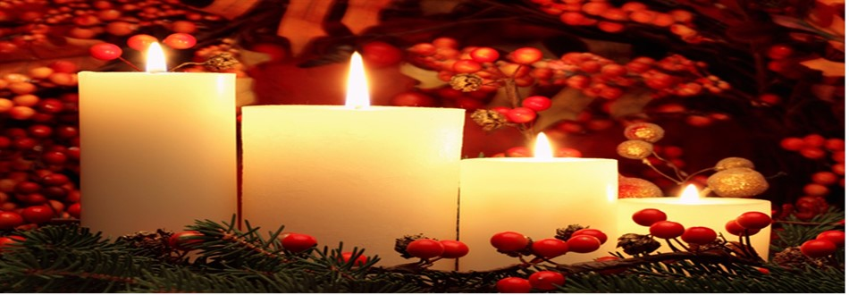 Candles with red berries