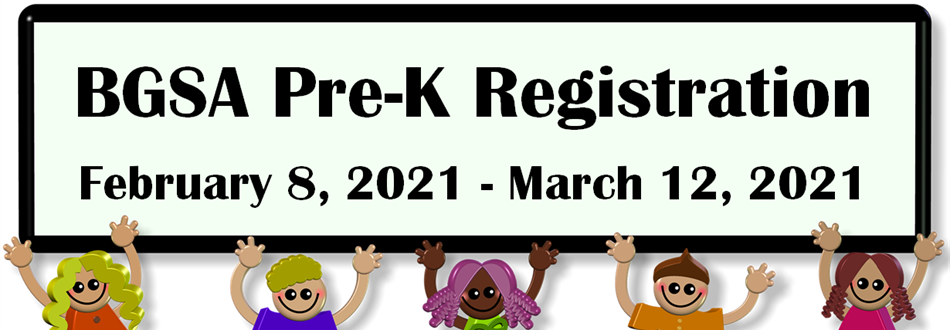 BGSA PreK dates sign with student cartoons
