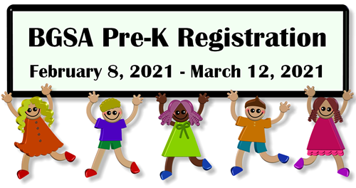 BGSA PreK sign with cartoon students