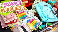 school supplies: book bag, pencils, markers, etc.