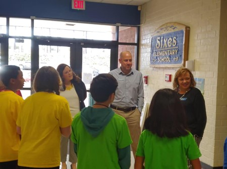 school board visit at sixes es 3