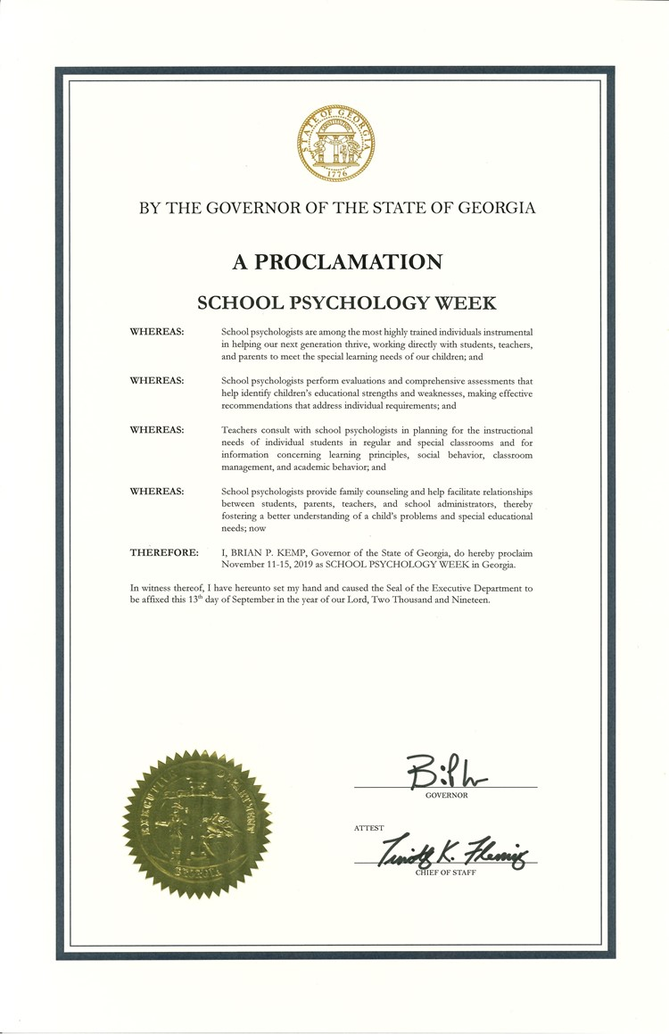 school psychology week proclamation