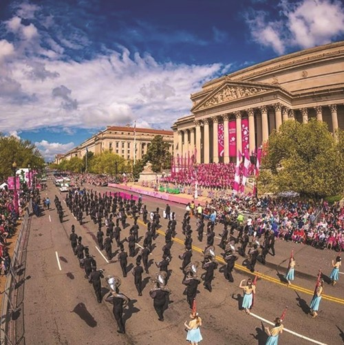 The Sequoyah High School Marching Band of Chiefs parades through Washington, D.C.