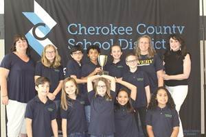 Avery ES team members and coaches celebrating their first-place victory are, from left to right, front row: Cameron Thrower, Dakota Youngblood, Tatum Carmichael, Christina Warren, Adriana Palmer; back row: Coach Ruth Knott, Carina Rossi, Andrés Klementzos, Captain Xander Candelario, Captain Kinley Sikes, Cody Webb, Coach Kristi Eno and Principal Dr. Lisa Turner.