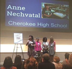 UPDATE 6/12/17: CCSD Media Specialist of the Year Anne Nechvatal of Cherokee HS today was named the Georgia Library Media Specialist of the Year! The surprise presentation was made today at the Georgia Library Media Association's Summer Institute in Peachtree City.
