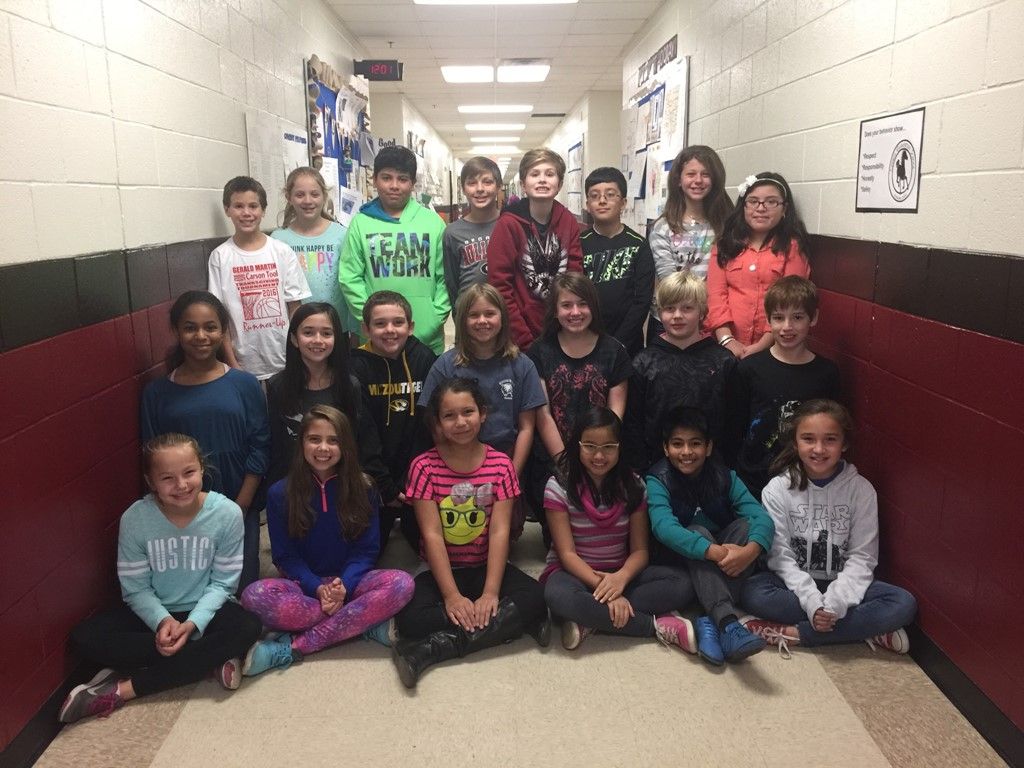Essay winners pictured in the 5th grade hallway